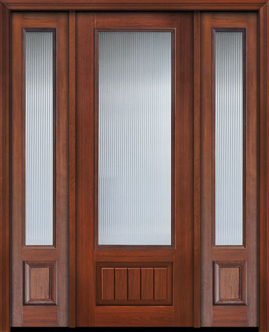 WDMA 56x96 Door (4ft8in by 8ft) Patio Cherry IMPACT | 96in 3/4 Lite Privacy Glass V-Grooved Panel Door /2side 1