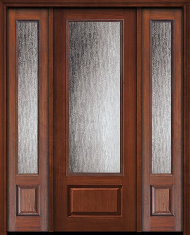 WDMA 56x96 Door (4ft8in by 8ft) Exterior Cherry IMPACT | 96in 3/4 Lite Privacy Glass Door /2side 1