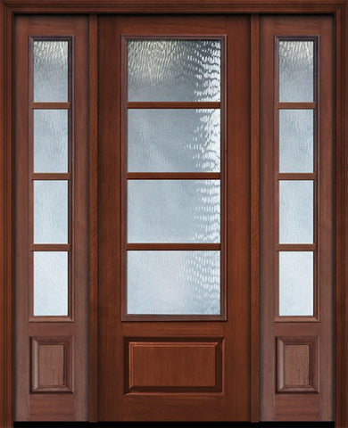 WDMA 56x96 Door (4ft8in by 8ft) Exterior Cherry IMPACT | 96in 3/4 Lite 1 Panel 4 Lite SDL Door /2side 1