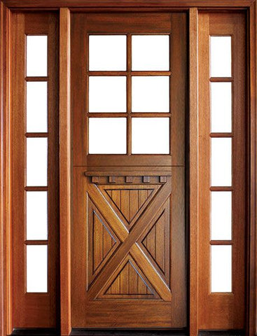 WDMA 56x96 Door (4ft8in by 8ft) Exterior Swing Mahogany Craftsman Crossbuck 6 Lite Square Single Door/2Sidelight 1
