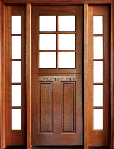 WDMA 56x96 Door (4ft8in by 8ft) Exterior Swing Mahogany Craftsman 2 Panel Vertical 6 Lite Square Single Door/2Sidelight 1