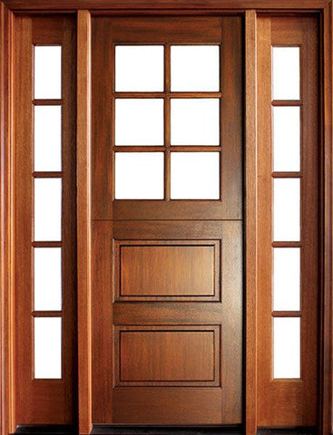 WDMA 56x96 Door (4ft8in by 8ft) Exterior Swing Mahogany Craftsman 2 Panel Horizontal 6 Lite Square Single Door/2Sidelight 1