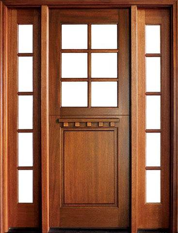 WDMA 56x96 Door (4ft8in by 8ft) Exterior Swing Mahogany Craftsman 1 Panel 6 Lite Square Single Door/2Sidelight 1