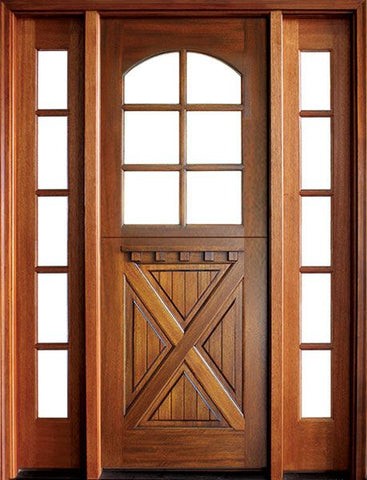 WDMA 56x96 Door (4ft8in by 8ft) Exterior Swing Mahogany Craftsman Crossbuck 6 Lite Arched Single Door/2Sidelight 1