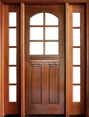 WDMA 56x96 Door (4ft8in by 8ft) Exterior Swing Mahogany Craftsman 2 Panel Vertical 6 Lite Arched Single Door/2Sidelight 1