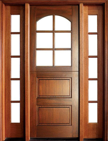 WDMA 56x96 Door (4ft8in by 8ft) Exterior Swing Mahogany Craftsman 2 Panel Horizontal 6 Lite Arched Single Door/2Sidelight 1
