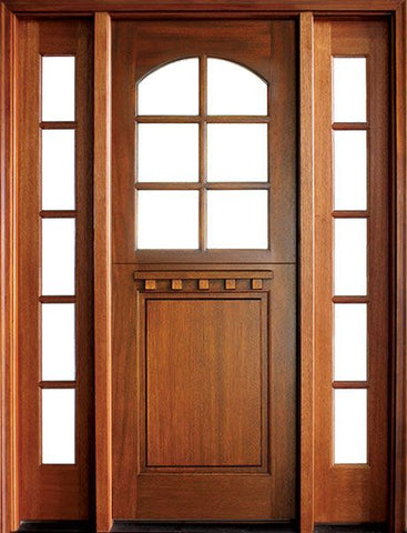 WDMA 56x96 Door (4ft8in by 8ft) Exterior Swing Mahogany Craftsman 1 Panel 6 Lite Arched Single Door/2Sidelight 1