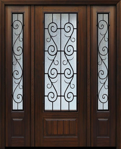 WDMA 56x96 Door (4ft8in by 8ft) Exterior Cherry IMPACT | 96in 1 Panel 3/4 Lite St Charles Door /2side 1