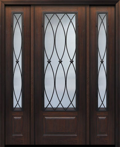 WDMA 56x96 Door (4ft8in by 8ft) Exterior Cherry IMPACT | 96in 1 Panel 3/4 Lite La Salle Door /2side 1