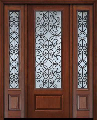 WDMA 56x96 Door (4ft8in by 8ft) Exterior Cherry 96in 1 Panel 3/4 Lite Florence / Walnut Door /2side 1