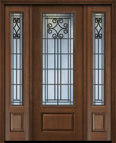 WDMA 56x96 Door (4ft8in by 8ft) Exterior Cherry 96in 1 Panel 3/4 Lite Novara / Walnut Door /2side 1
