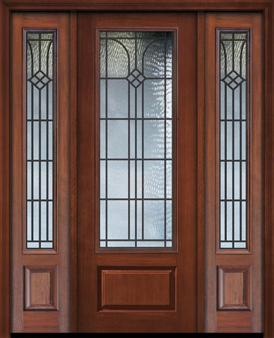 WDMA 56x96 Door (4ft8in by 8ft) Exterior Cherry 96in 1 Panel 3/4 Lite Cantania / Walnut Door /2side 1