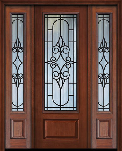 WDMA 56x96 Door (4ft8in by 8ft) Exterior Cherry 96in 1 Panel 3/4 Lite Salento / Walnut Door /2side 1