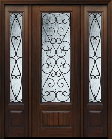 WDMA 56x96 Door (4ft8in by 8ft) Exterior Cherry 96in 1 Panel 3/4 Lite Palermo / Walnut Door /2side 1