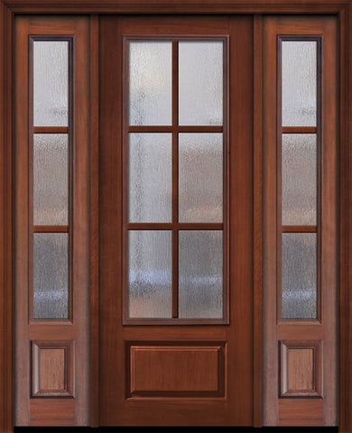 WDMA 56x96 Door (4ft8in by 8ft) Exterior Cherry 96in 3/4 Lite 1 Panel 6 Lite SDL Door /2side 1