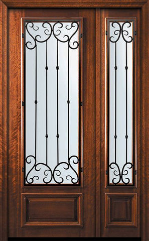 WDMA 56x96 Door (4ft8in by 8ft) Exterior Mahogany 42in x 96in 3/4 Lite Valencia Door /1side 1