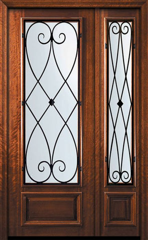 WDMA 56x96 Door (4ft8in by 8ft) Exterior Mahogany 42in x 96in 3/4 Lite Charleston Door /1side 1