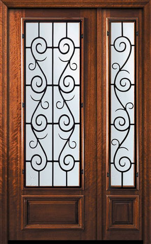 WDMA 56x96 Door (4ft8in by 8ft) Exterior Mahogany 42in x 96in 3/4 Lite St. Charles Door /1side 1
