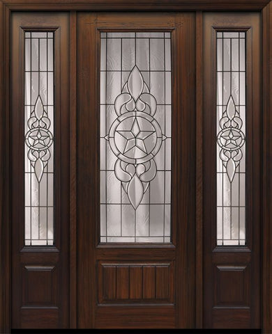 WDMA 56x96 Door (4ft8in by 8ft) Exterior Cherry 96in 1 Panel 3/4 Lite Brazos Walnut / Door /2side 1