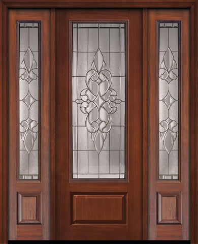 WDMA 56x96 Door (4ft8in by 8ft) Exterior Cherry 96in 1 Panel 3/4 Lite Courtlandt Walnut / Door /2side 1