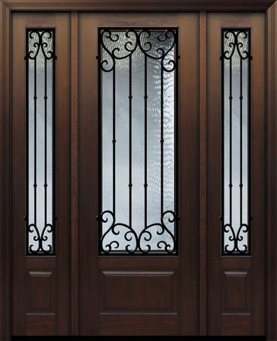 WDMA 56x96 Door (4ft8in by 8ft) Exterior Cherry 96in 1 Panel 3/4 Lite Valencia Door /2side 1