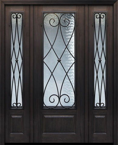 WDMA 56x96 Door (4ft8in by 8ft) Exterior Cherry 96in 1 Panel 3/4 Lite Charleston Door /2side 1