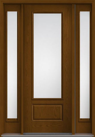 WDMA 56x96 Door (4ft8in by 8ft) Exterior Oak Low-E 8ft 3/4 Lite 1 Panel Fiberglass Door 2 Sides HVHZ Impact 1