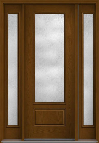 WDMA 56x96 Door (4ft8in by 8ft) French Oak Rainglass 8ft 3/4 Lite 1 Panel Fiberglass Exterior Door 2 Sides HVHZ Impact 1
