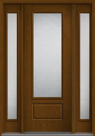 WDMA 56x96 Door (4ft8in by 8ft) Patio Oak Granite 8ft 3/4 Lite 1 Panel Fiberglass Exterior Door 2 Sides HVHZ Impact 1