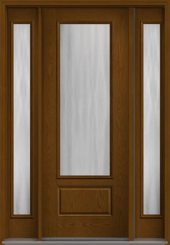 WDMA 56x96 Door (4ft8in by 8ft) Patio Oak Chinchilla 8ft 3/4 Lite 1 Panel Fiberglass Exterior Door 2 Sides HVHZ Impact 1