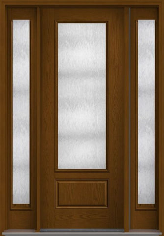 WDMA 56x96 Door (4ft8in by 8ft) Patio Oak Chord 8ft 3/4 Lite 1 Panel Fiberglass Exterior Door 2 Sides HVHZ Impact 1