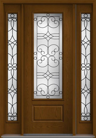 WDMA 56x96 Door (4ft8in by 8ft) Exterior Oak Salinas 8ft 3/4 Lite 1 Panel Fiberglass Door 2 Sides HVHZ Impact 1