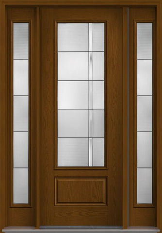 WDMA 56x96 Door (4ft8in by 8ft) Exterior Oak Axis 8ft 3/4 Lite 1 Panel Fiberglass Door 2 Sides HVHZ Impact 1