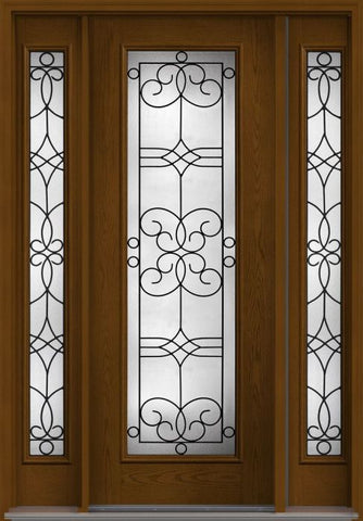 WDMA 56x96 Door (4ft8in by 8ft) Exterior Oak Salinas 8ft Full Lite W/ Stile Lines Fiberglass Door 2 Sides HVHZ Impact 1