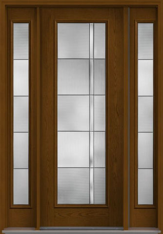 WDMA 56x96 Door (4ft8in by 8ft) Exterior Oak Axis 8ft Full Lite W/ Stile Lines Fiberglass Door 2 Sides HVHZ Impact 1