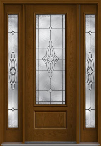 WDMA 56x96 Door (4ft8in by 8ft) Exterior Oak Wellesley 8ft 3/4 Lite 1 Panel Fiberglass Door 2 Sides HVHZ Impact 1