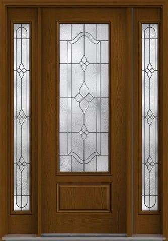 WDMA 56x96 Door (4ft8in by 8ft) Exterior Oak Concorde 8ft 3/4 Lite 1 Panel Fiberglass Door 2 Sides HVHZ Impact 1