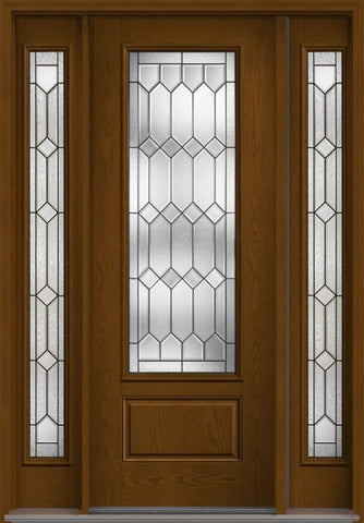 WDMA 56x96 Door (4ft8in by 8ft) Exterior Oak Crystalline 8ft 3/4 Lite 1 Panel Fiberglass Door 2 Sides HVHZ Impact 1