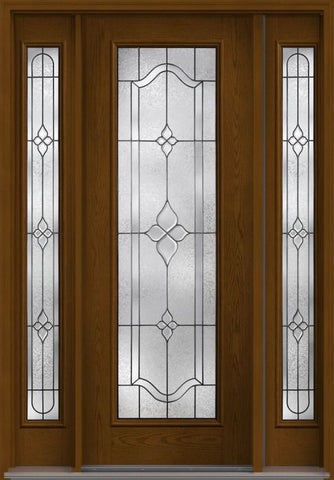 WDMA 56x96 Door (4ft8in by 8ft) Exterior Oak Concorde 8ft Full Lite W/ Stile Lines Fiberglass Door 2 Sides HVHZ Impact 1