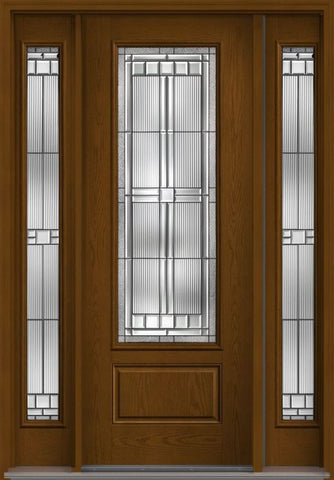 WDMA 56x96 Door (4ft8in by 8ft) Exterior Oak Saratoga 8ft 3/4 Lite 1 Panel Fiberglass Door 2 Sides HVHZ Impact 1