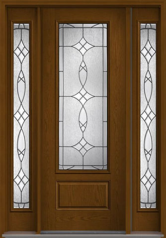 WDMA 56x96 Door (4ft8in by 8ft) Exterior Oak Blackstone 8ft 3/4 Lite 1 Panel Fiberglass Door 2 Sides HVHZ Impact 1