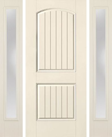 WDMA 58x80 Door (4ft10in by 6ft8in) Exterior Smooth 2 Panel Plank Soft Arch Star Door 2 Sides Clear 1