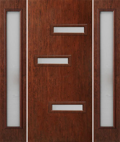 WDMA 58x80 Door (4ft10in by 6ft8in) Exterior Cherry Contemporary Modern 3 Lite Single Entry Door Sidelights FC552 1