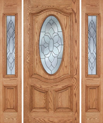 WDMA 58x80 Door (4ft10in by 6ft8in) Exterior Oak Dally Single Door/2side w/ BO Glass - 6ft8in Tall 1