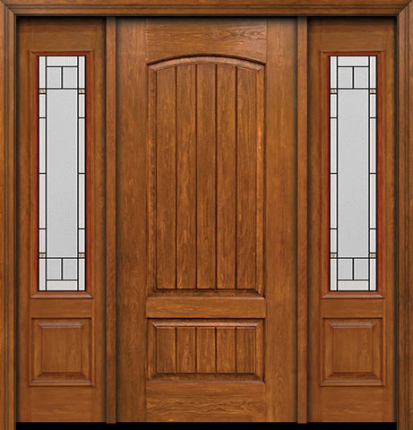 WDMA 58x80 Door (4ft10in by 6ft8in) Exterior Cherry Plank Two Panel Single Entry Door Sidelights 3/4 Lite Topaz Glass 1