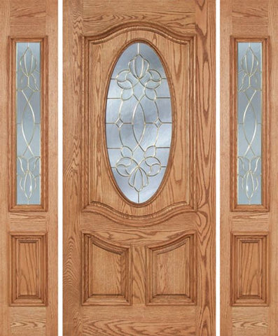 WDMA 58x80 Door (4ft10in by 6ft8in) Exterior Oak Dally Single Door/2side w/ CO Glass - 6ft8in Tall 1