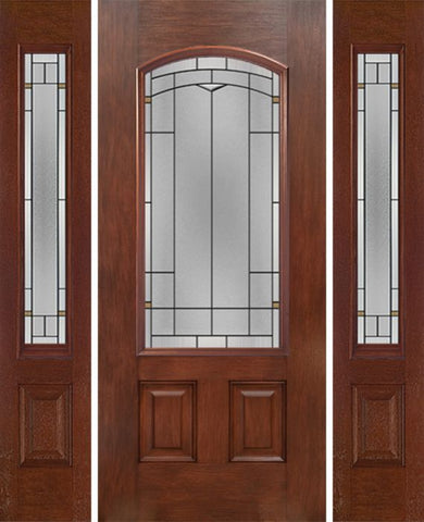 WDMA 58x80 Door (4ft10in by 6ft8in) Exterior Mahogany Camber 3/4 Lite Single Entry Door Sidelights TP Glass 1