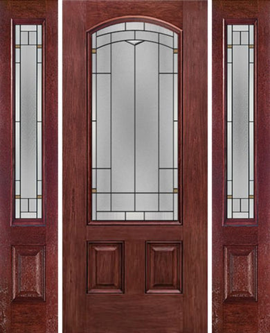 WDMA 58x80 Door (4ft10in by 6ft8in) Exterior Cherry Camber 3/4 Lite Two Panel Single Entry Door Sidelights TP Glass 1