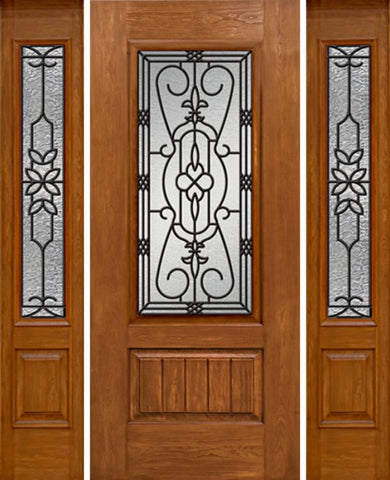 WDMA 58x80 Door (4ft10in by 6ft8in) Exterior Cherry Plank Panel 3/4 Lite Single Entry Door Sidelights 3/4 Lite w/ MD Glass 1