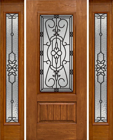 WDMA 58x80 Door (4ft10in by 6ft8in) Exterior Cherry Plank Panel 3/4 Lite Single Entry Door Sidelights Full Lite w/ MD Glass 1